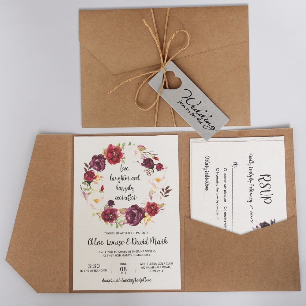 Vintage Pocket Wedding Invitations Rustic Invitation Cards Customized Wed Pocket Wedding Invitations Rustic Wedding Invitation Card Wedding Invitations Rustic