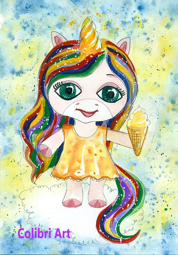 Sie Unicorn Watercolor Prints Painting Art For Nursery Cute Pretty Unicorn Wallpaper Children Ra