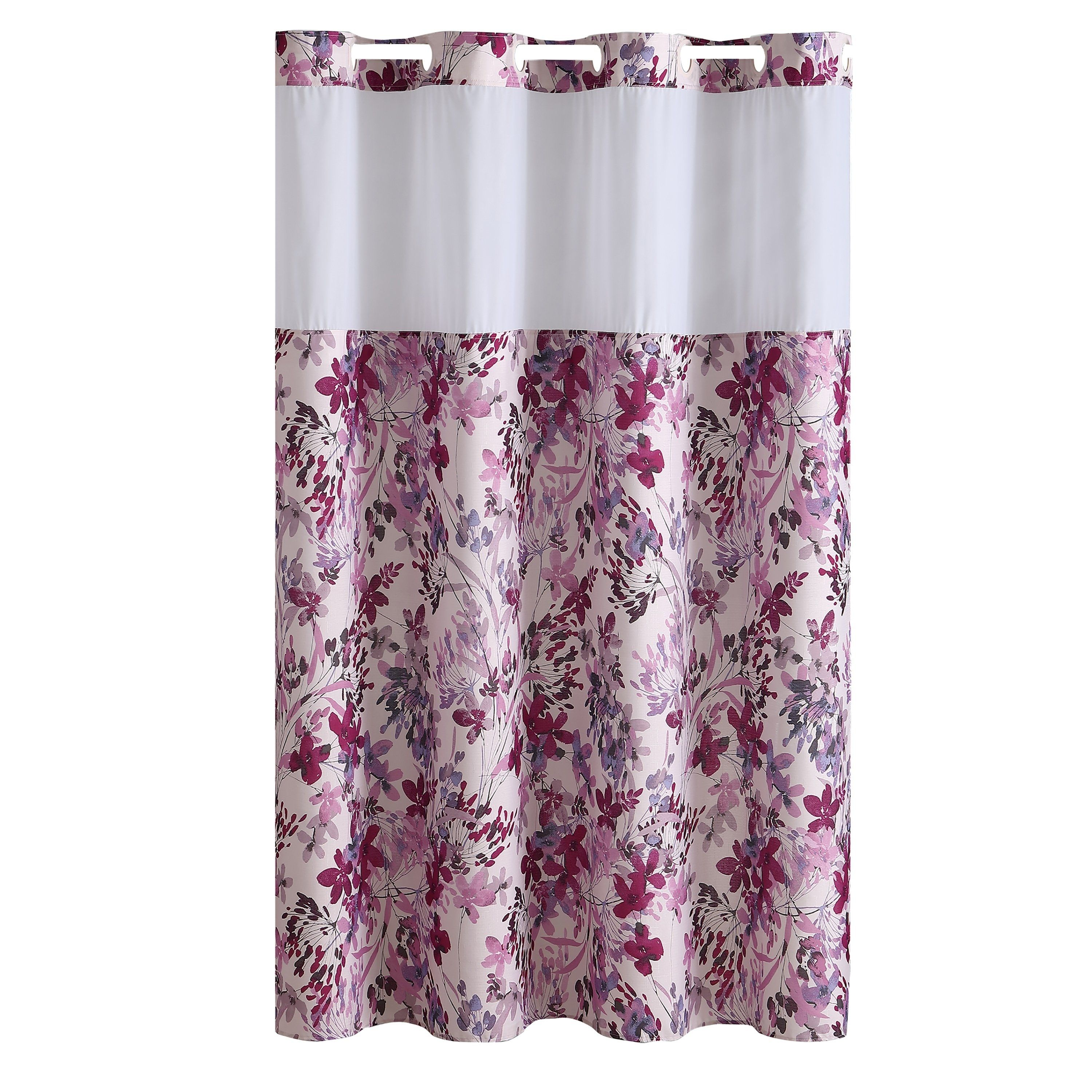 Hookless Shower Curtain Water Color Floral Print Fuchsia Pink