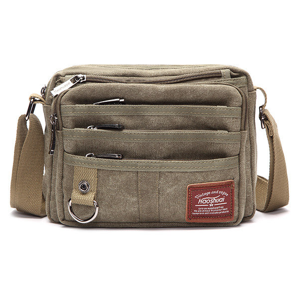 f8534e9cc3e Retro Thread Crossbody Shoulder Bag Multi-pocket Canvas Outdoor Casual Men  Bag