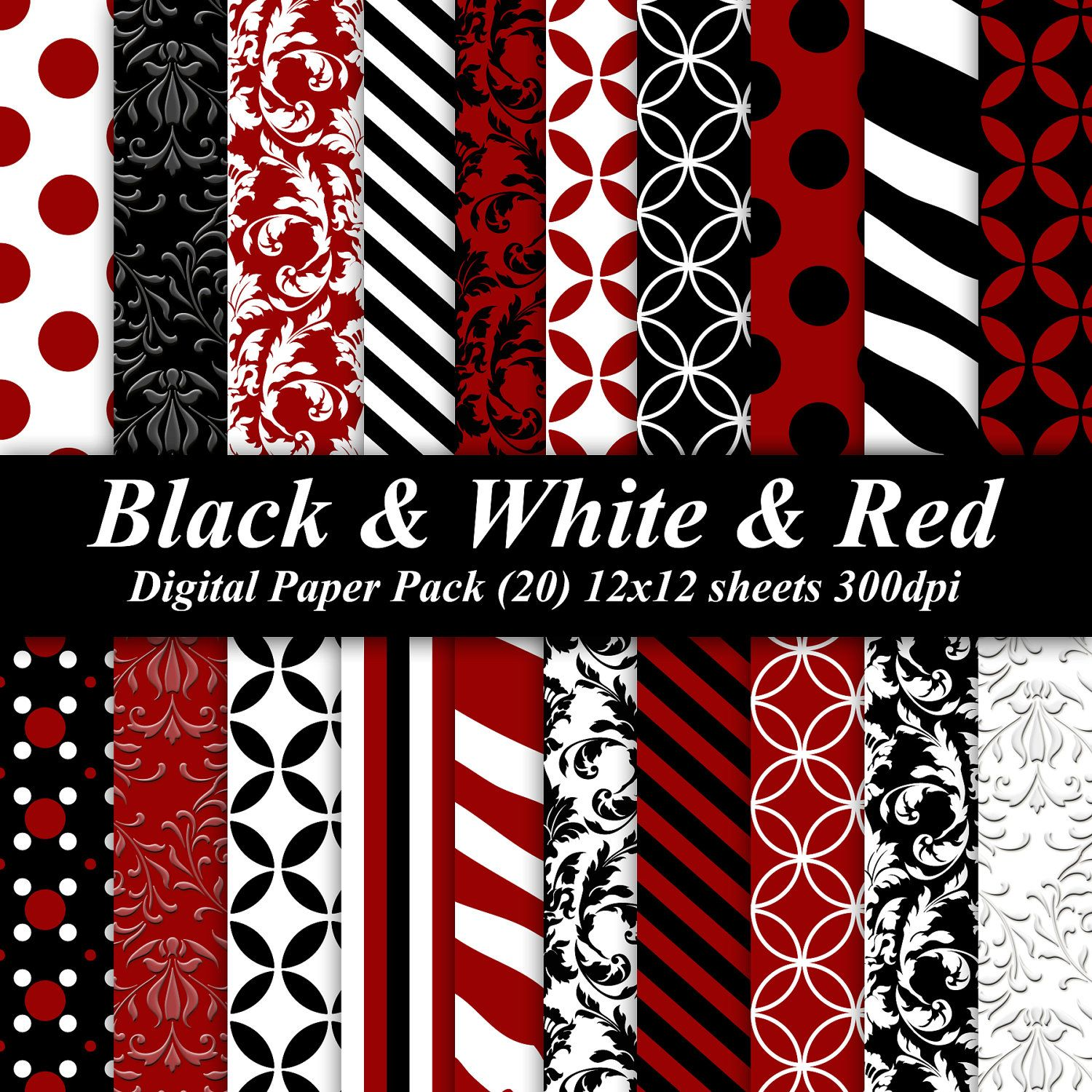 Scrapbook paper etsy - Black And White And Red Digital Paper Pack 20 300 Dpi 12x12 Red Black