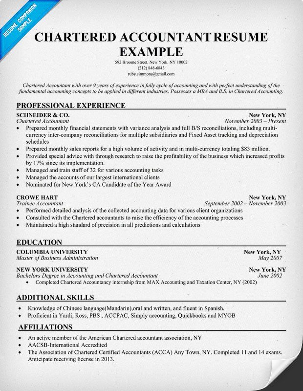 Accounting Resume Examples Chartered Accountant Resume Example  Resume Samples Across All