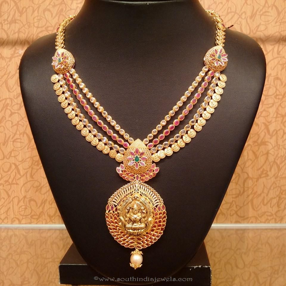 Gold CZ Ruby Necklace from NAJ   Necklace designs, Temple and Pendants