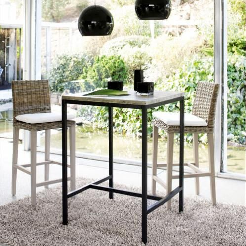 Table Haute A Manger.Solid Fir And Metal Tall Dining Table In Whitewash Finish