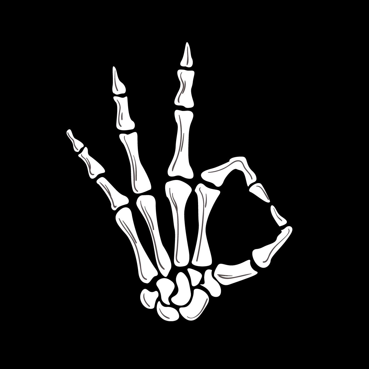 Skeleton Ok Hand Sticker Sticker By Zee09111 Skeleton Hands Drawing Hand Sticker Skeleton Art Drawing