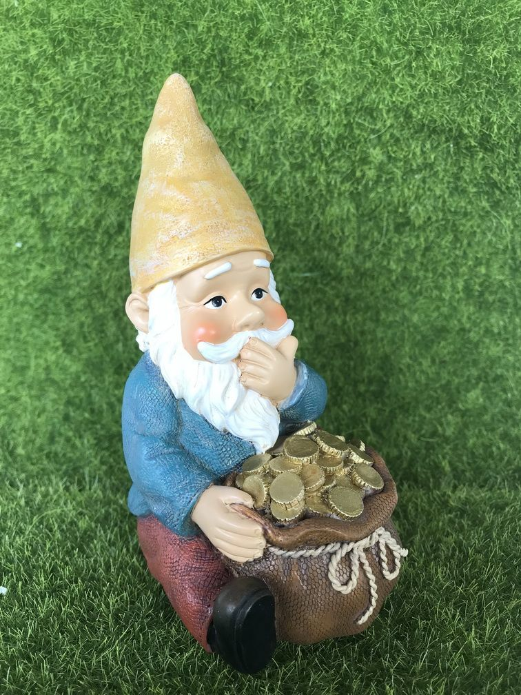 The gnome is so happy that he found a bag of money under