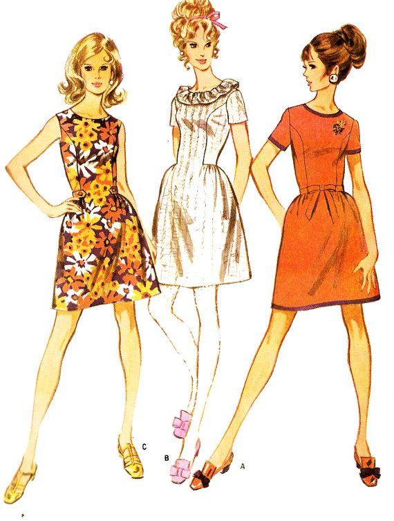 9587 Retro años 1960 Junior de McCall tamaño vestido en tres estilos ...