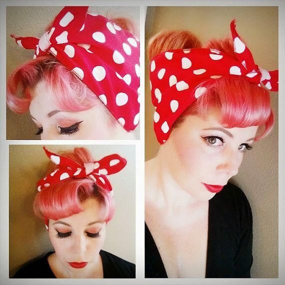 red with white polka dots headband bandana head scarf hair rockabilly bow wrap