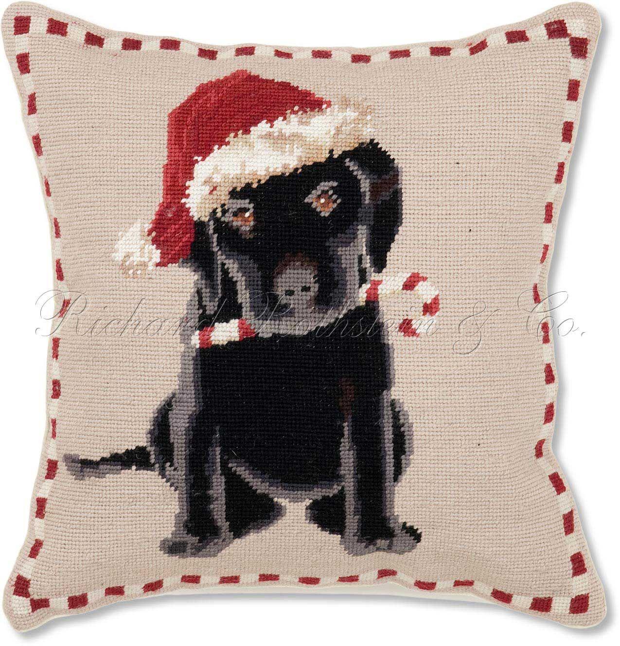 Holiday Labrador Puppy Christmas Needlepoint Pillow   Christmas ...