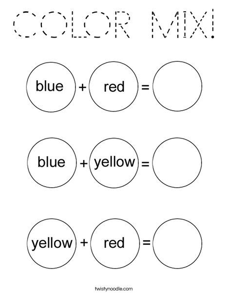 Color Mixing Coloring Page Color Mixing, Color Worksheets, Mixing Primary  Colors
