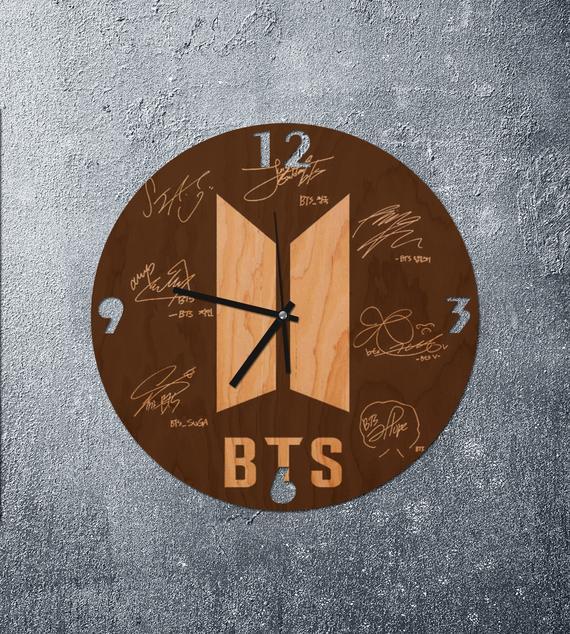 Bts Wooden Clock Bts Logo Art Bts Art Bts Signatures Wooden Clock