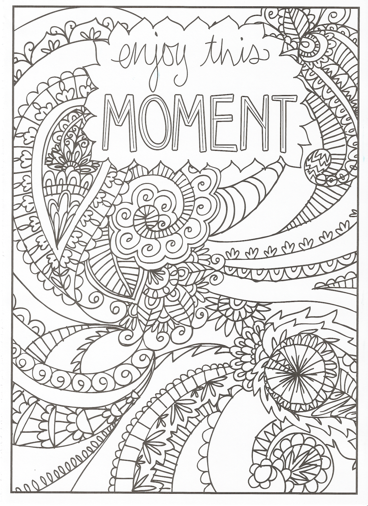 Timeless Creations Creative Quotes Coloring Page Enjoy This Moment Quote Coloring Pages Inspirational Quotes Coloring Words Coloring Book