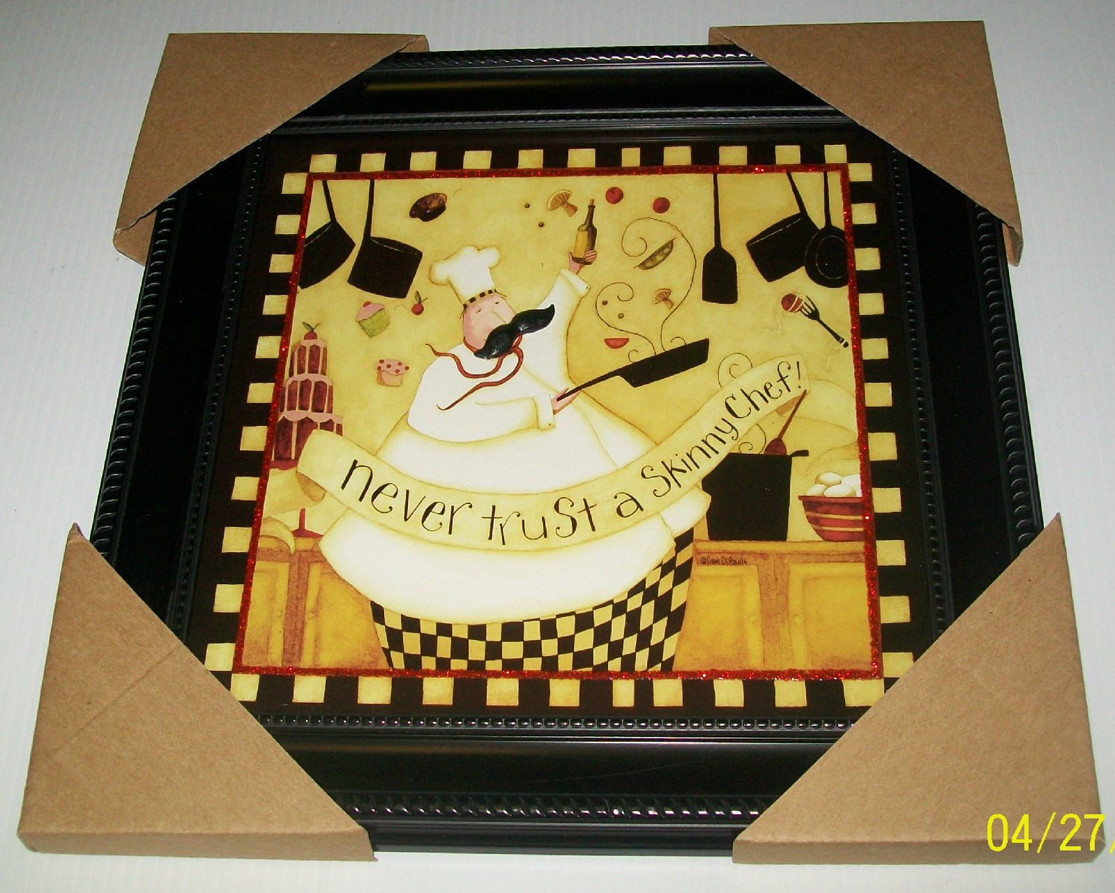 Fat Chef Framed Wall Art Picture~3D Mustache Never Trust A Skinny ...