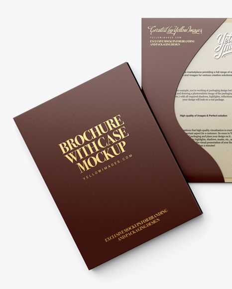 Folded Brochure With Case Mockup  Top View  Stationery Mockups