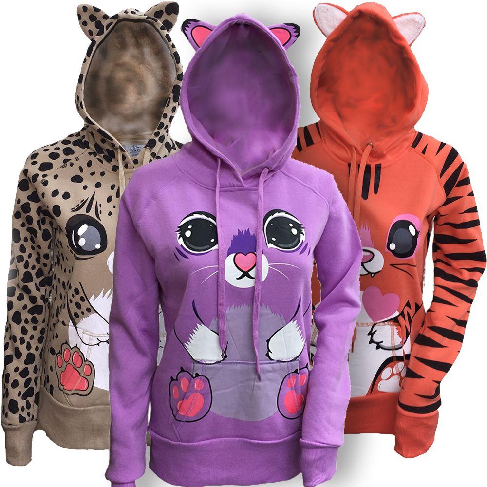Women s Animal Graphic Zip-Up Hooded Sweatshirt with Cat Ears -  19.75.  https  02256785ac