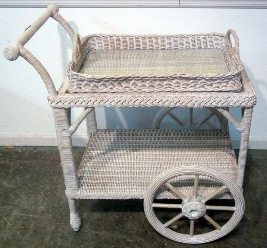 Henry Link White Wicker Tea Cart, Baltimore, Maryland Furniture ...