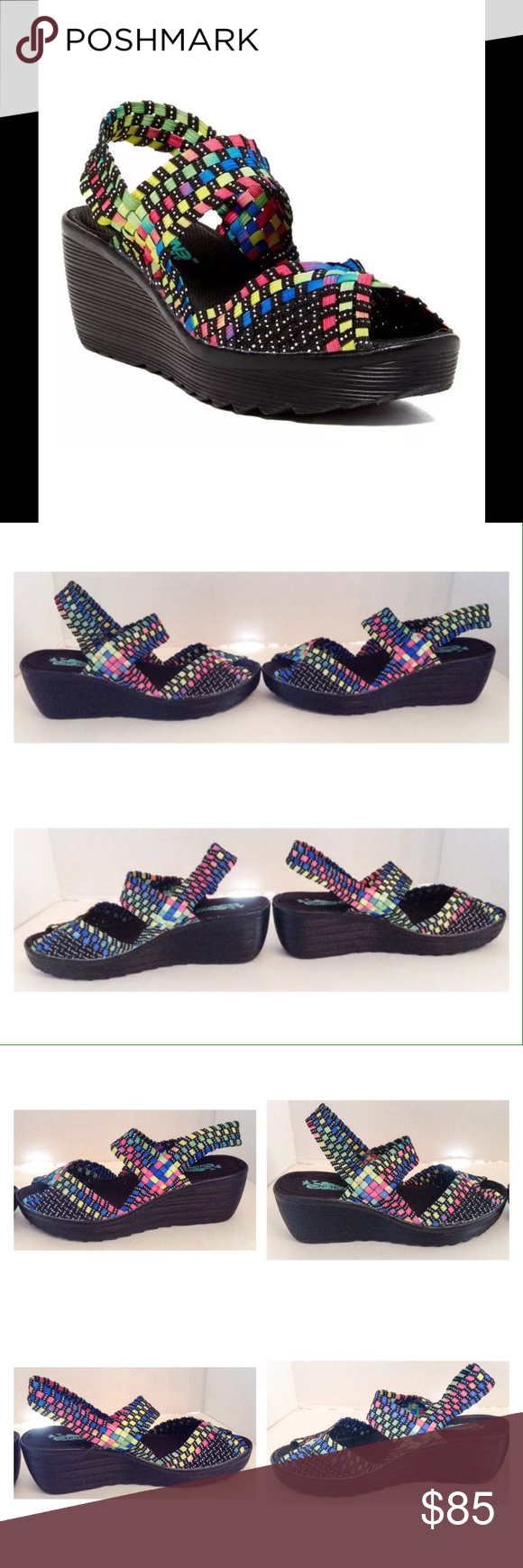 """Serene Fantaso Multi Color Wedge Sandal Serene Fantaso black multi color wedge sandal.  Size 8 medium.  New with box.  A thick, ruggedly soled wedge lends a generous boost to this stretchy woven design.  Heel approximately 2.5""""; platform:  1"""". No trades. Serene Shoes Sandals"""