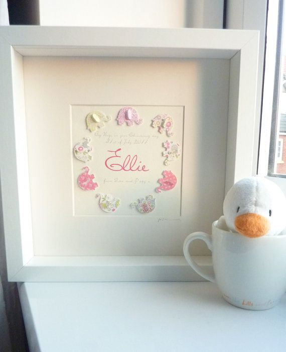 3D Paper Art Elephant. Personalized baby girl gift. Keepsake box ...