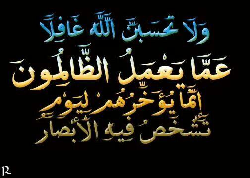 وﻻ تحسبن الله غافﻻ عما يعمل الظالمون إنما يؤخرهم ليوم تشخص فيه الأبصار Arabic Calligraphy Calligraphy Islam