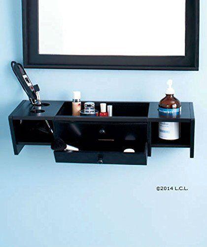 Curling Iron Holder Dryer Makeup Comb Brush Bathroom Wall Vanity Organizer Black Beauty