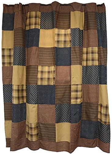 New Primitive Country Bath Americana Patchwork Burgundy Tan Navy Shower Curta