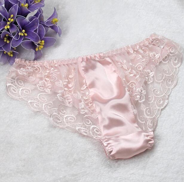 1PC 100% Pure Silk Women\'s Sexy Lace Underwear Lingerie Panties M L ...