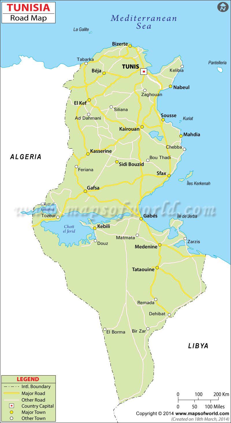 Tunisia Road Map | North Africa | Map, North africa, Africa