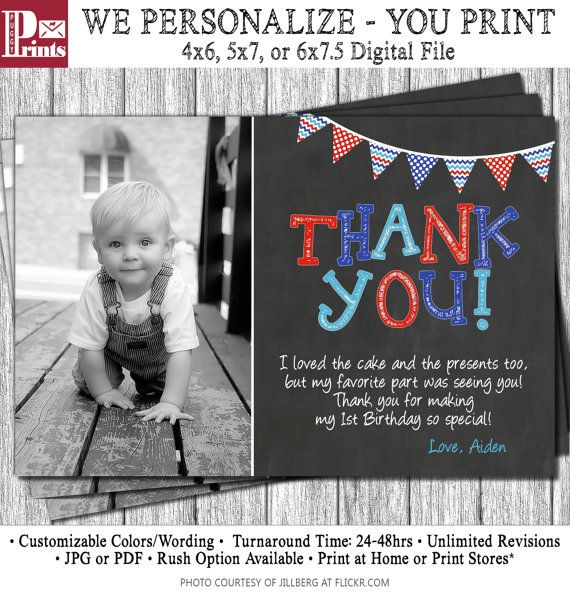 First birthday thank you card 1st birthday by puggyprints on etsy first birthday thank you card 1st birthday chalkboard thank you card thecheapjerseys Gallery