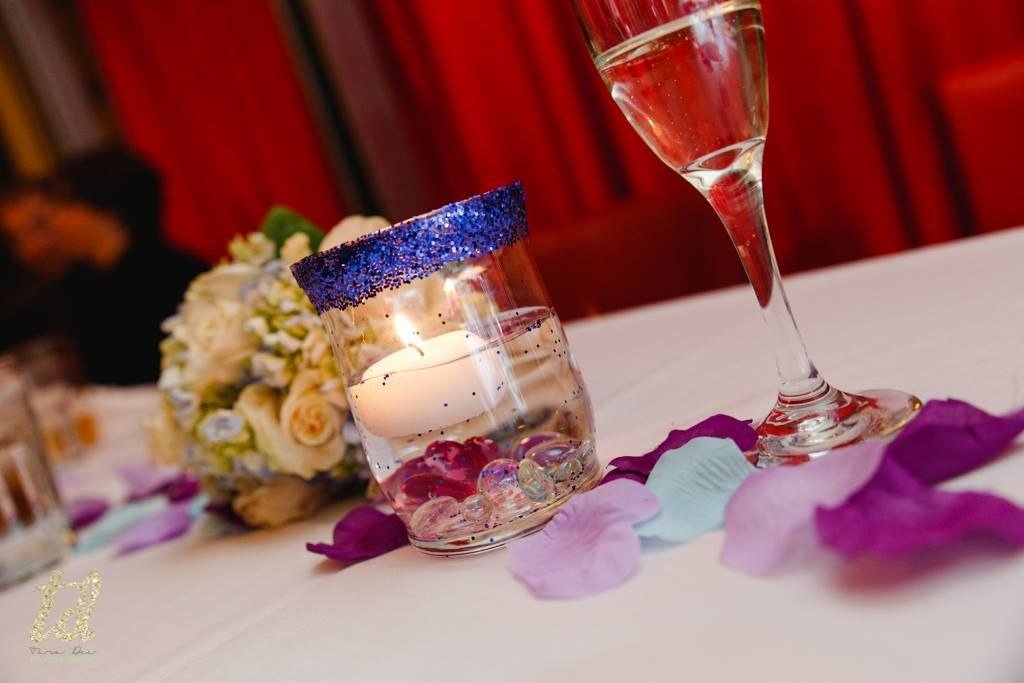 DIY Floating Candle Wedding Centerpiece With Glitter And