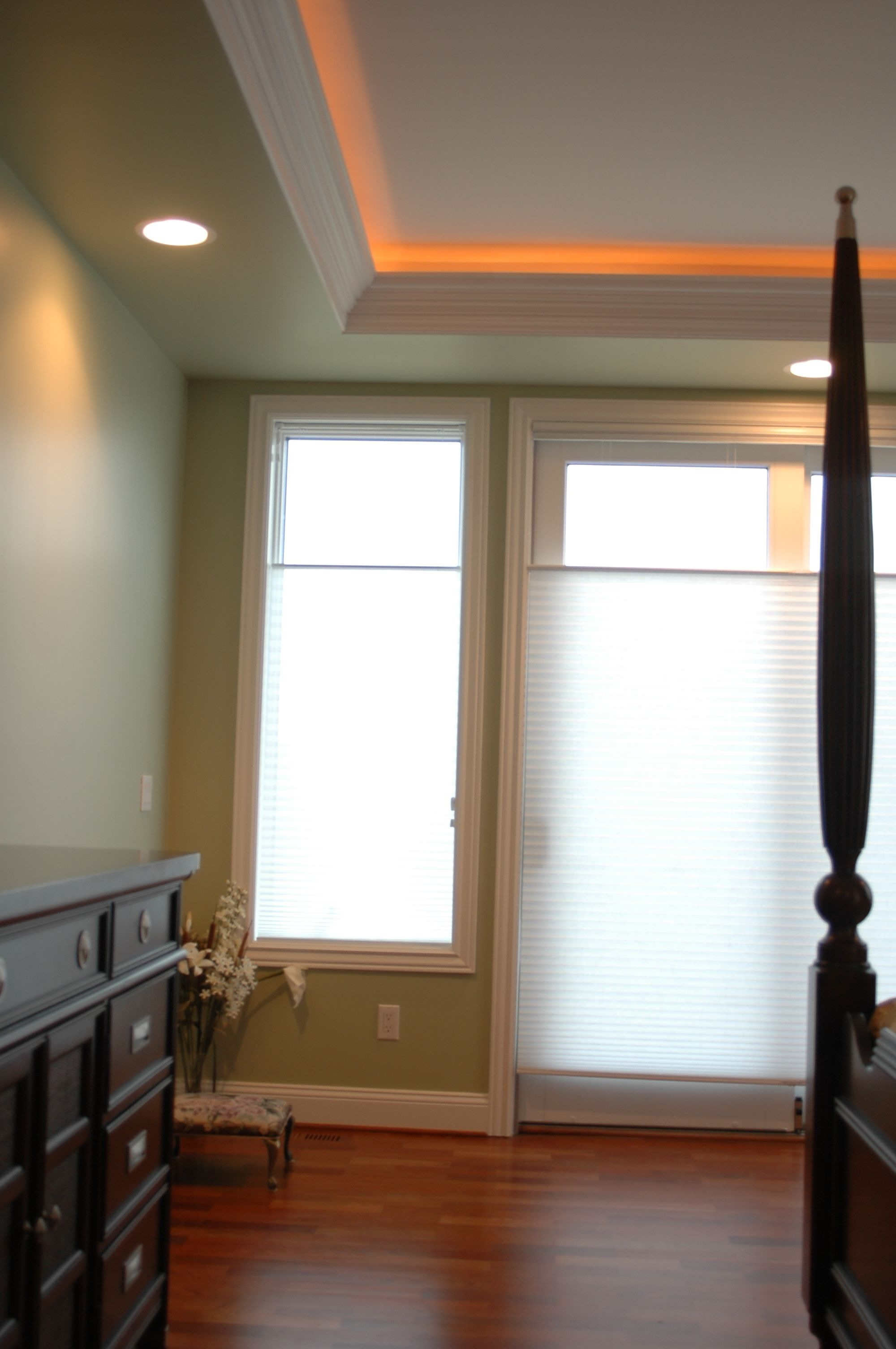 Tray Ceiling With Mood Lighting Living Room Spotlights