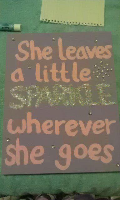 Easy wall art. Need a canvas, your choice of paint colors, glue and glitter (I used polyfill glitter), and then spray sealer. make sure EVERYTHING is dry before you put the glue and glitter so the glitter is just on the letters.