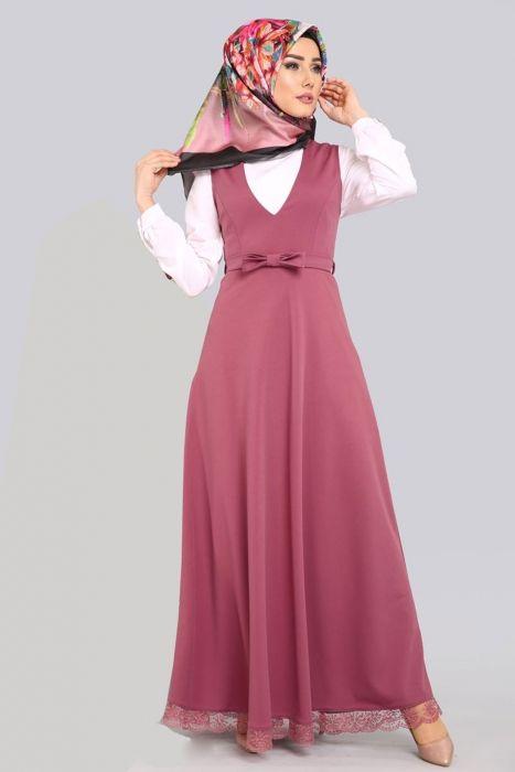 Tesettur Jile Elbise Gul Etek Ucu Dantelli Elbise Giyim Elbise Modelleri