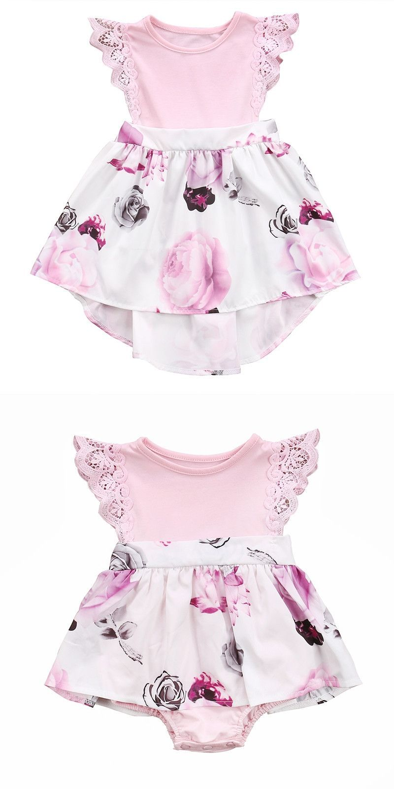 ad006867f7ccb Family Sister Floral Matching Clothing Newborn Baby girls Kids lace Summer Floral  Romper &Dress