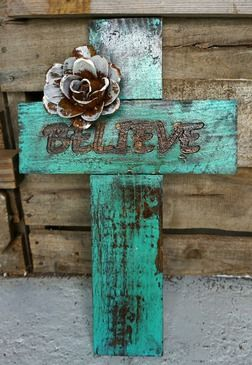 Word Cross Believe Wooden Crosses Rustic Crafts