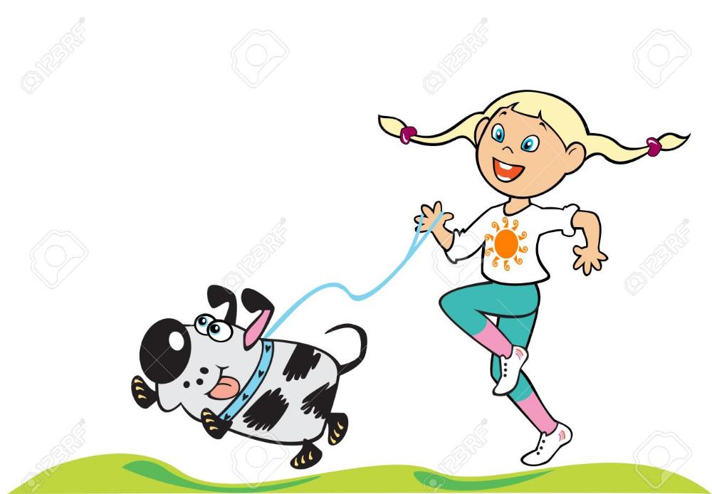 Dibujos Animados Nina Corriendo Con El Perro Ilustracion Infantil Aislada En El Fondo Blanco Ninos Dibujos Animados Ilustraciones Infantiles Nino Corriendo