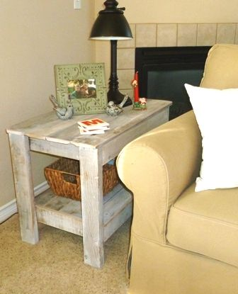 Superior End Table   White Washed Reclaimed Lumber