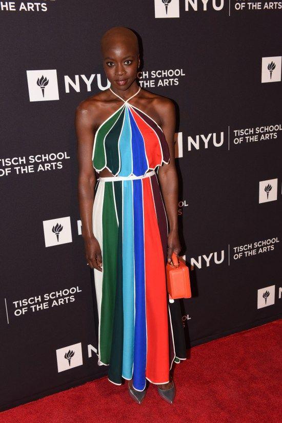 Danai Gurira Is Bright Bold And Beautifully Bald At The 2017 Nyu Tisch School Of The Arts Gala Fashion Trending Outfits Womens Fashion