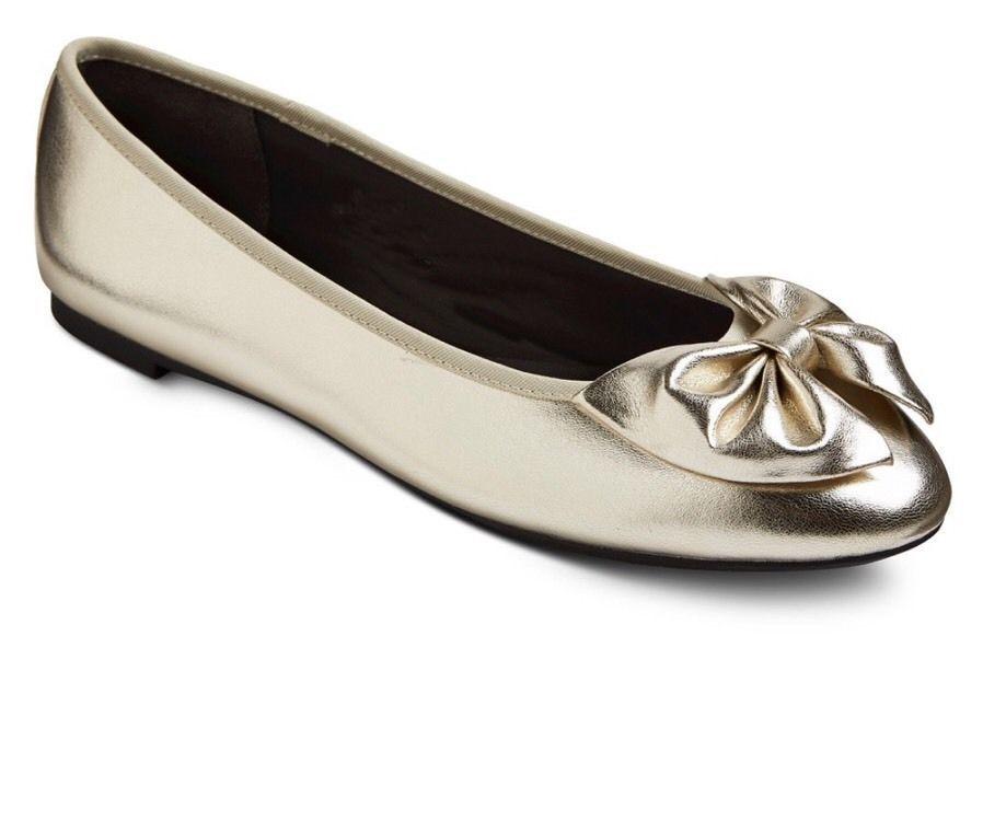 Bow Tamaño E76tqw Planos Sam Ballet 9 Medio Zapatos Libby Nizaebay Gold qL5Sc34ARj