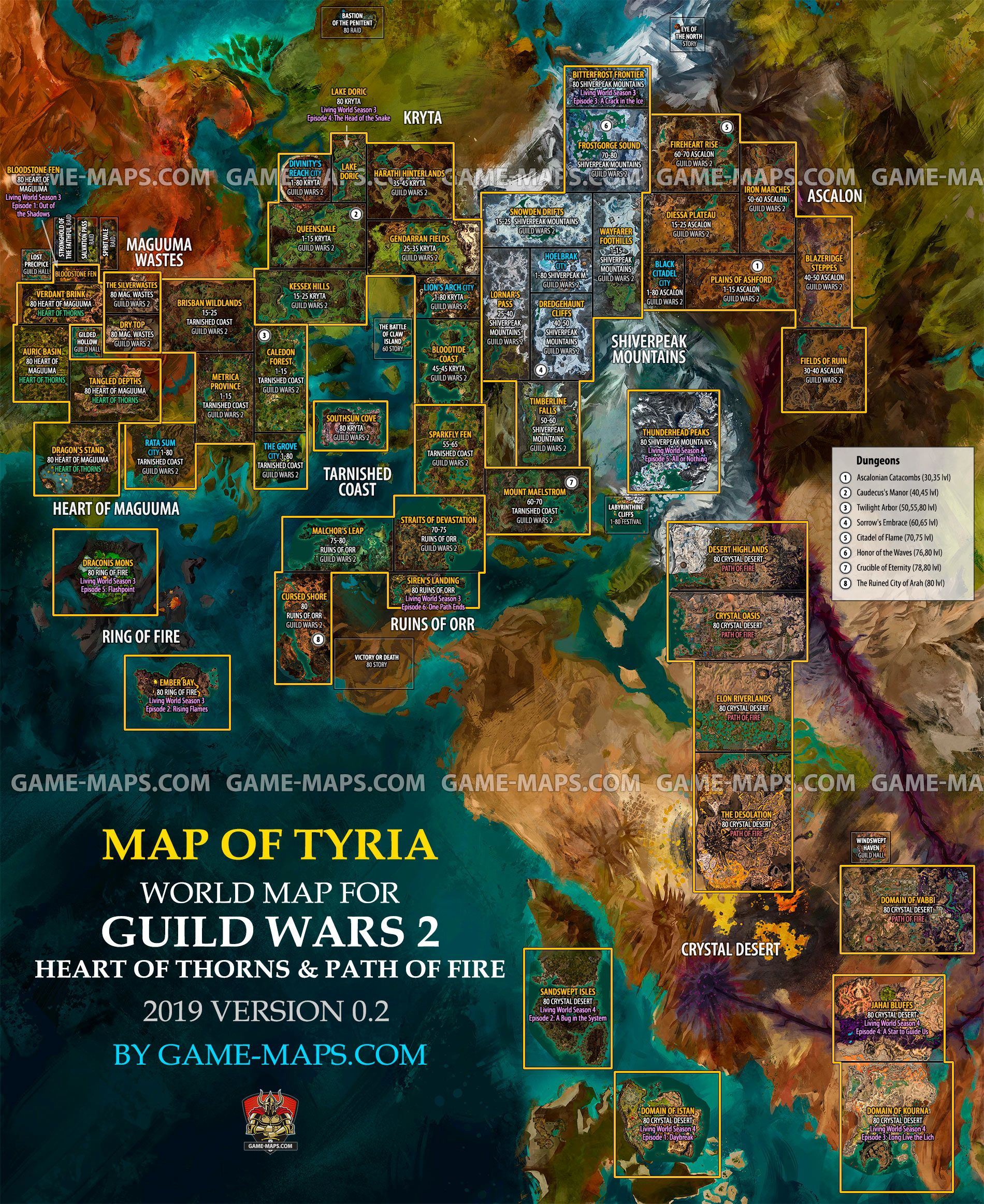 Guild Wars 2 Path Of Fire Map Full World Map for Guild Wars 2, GW2 Heart of Thorns, GW2 Path of