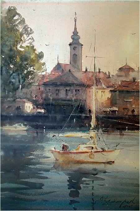 Dusan Djukaric On the beautiful blue Danube, Zemun, watercolor, 38x56 cm
