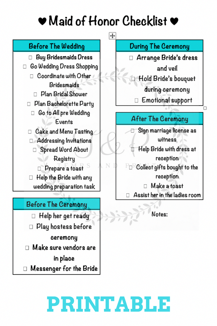 2c1d8864c46 Keep track of all maid of honor duties with this checklist printable.   weddingplanningchecklist