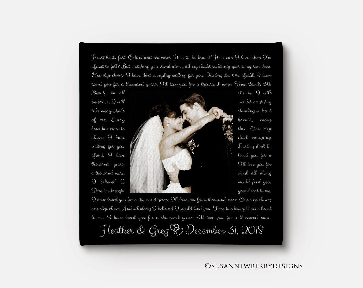 Wedding Song Lyrics CANVAS with picture Anniversary Gift