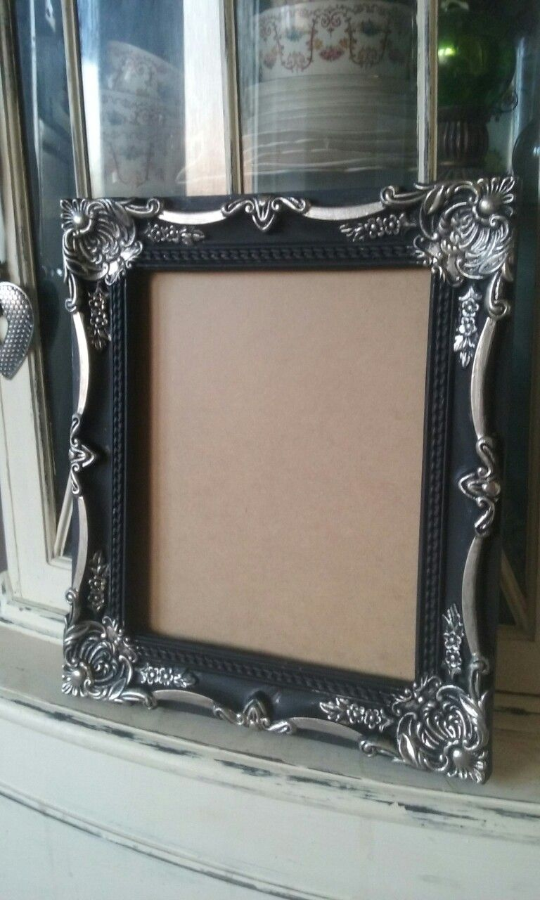 Home Bargains Picture Frame Chalk Painted Black With Liquid Leaf Silver On Details Painted Picture Frames Old Picture Frames Painting Frames