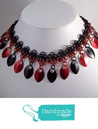 choker, neckalce, chainmaille choker, chainmail necklace, black red from Chained Creativity http://www.amazon.com/dp/B01BO9TMI6/ref=hnd_sw_r_pi_dp_cbX8wb0K5KP5W #handmadeatamazon