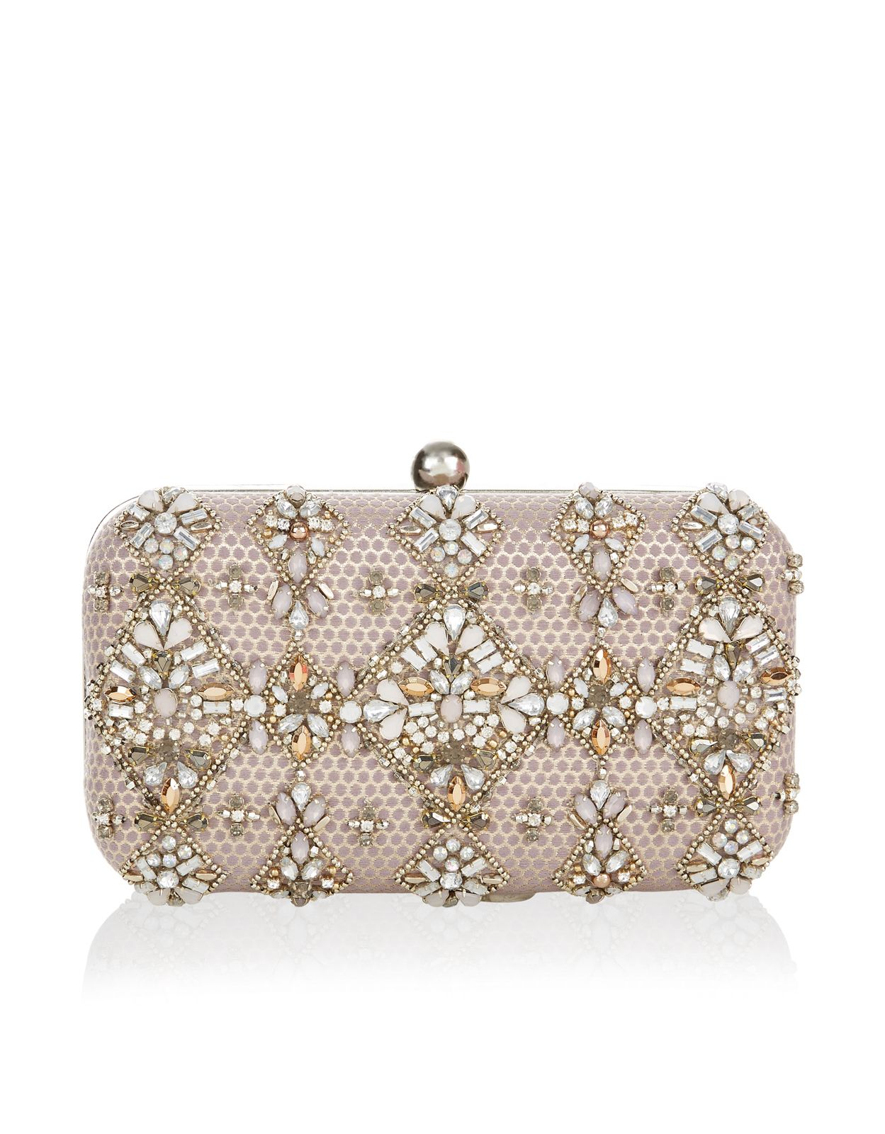 6086db29f3 Our beautifully ornate Elsa embellished hard-case clutch bag is decorated  with…