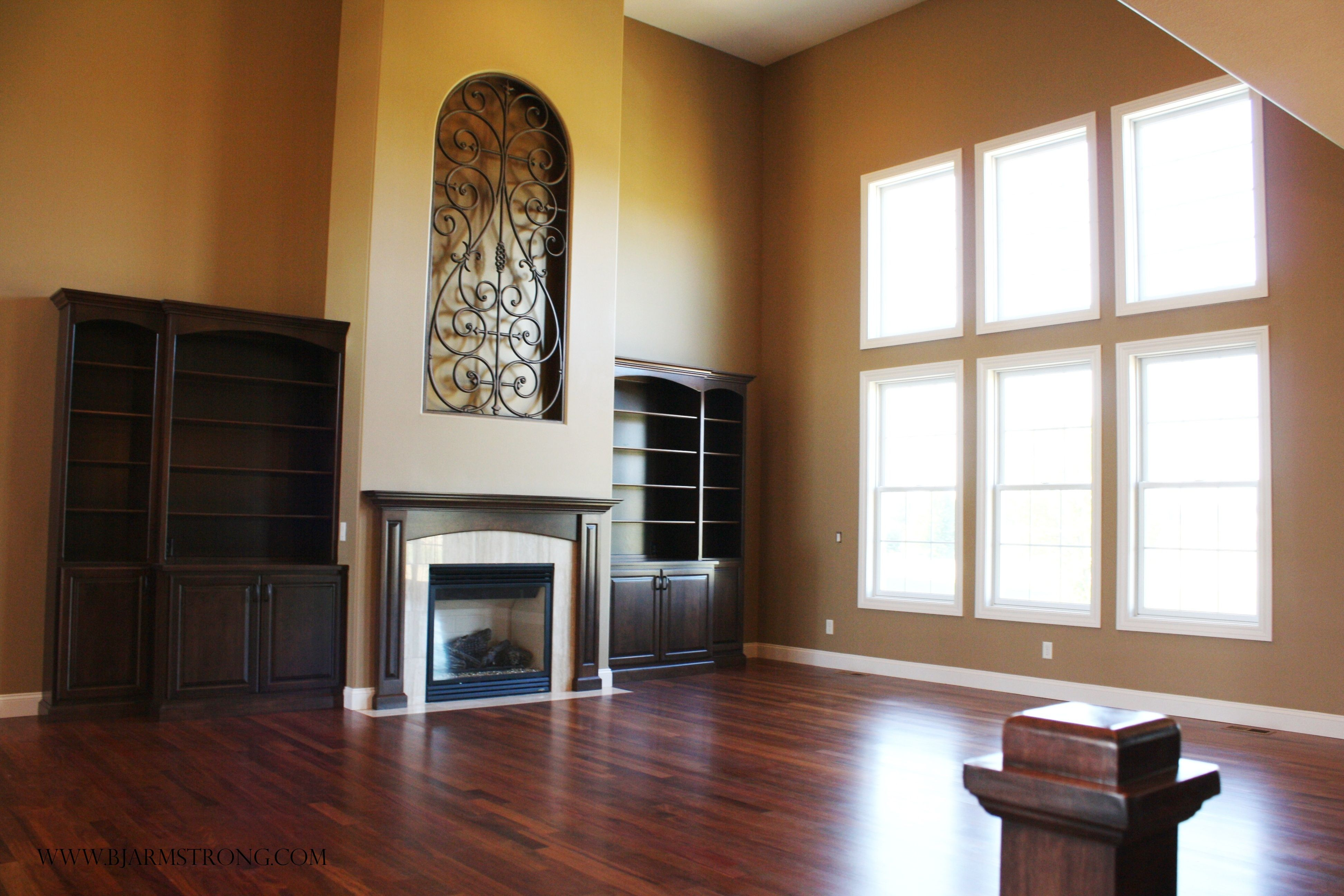 2-story Great Room with Fireplace and Custom Built-ins ...