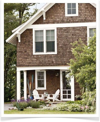Cedar shake siding with white trim beach house for Cedar shake cottage