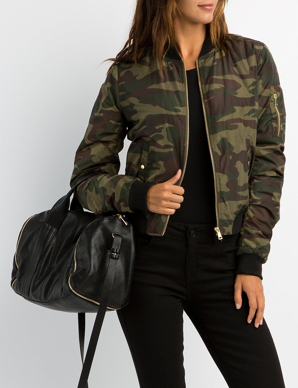 fe5a2574ce8a6 Camo Bomber Jacket #charlottelook | Charlotte Russe | Outerwear ...