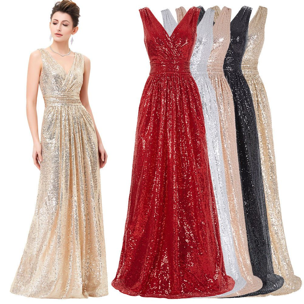 Glitter sequins bridesmaid wedding evening prom gown cocktail party