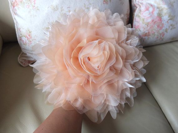 Jumbo Organza Flower Brooch Peach / Coral by LoveMimosaFleur